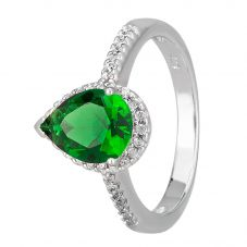 Morado Silver Pear-cut Green Cubic Zirconia Shouldered Halo Ring R6163 GREEN