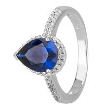 Morado Silver Pear-cut Blue Cubic Zirconia Shouldered Halo Ring R6163 BLUE