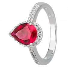 Morado Silver Pear-cut Red Cubic Zirconia Shouldered Halo Ring R6163 RED