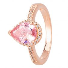 Morado Rose Gold Pear-cut Pink Cubic Zirconia Shouldered Halo Ring R6163 PINK RGP