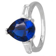 Morado Silver Pear-cut Blue Cubic Zirconia Trilogy Ring R6229 BLUE