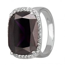 Morado Silver Cushion-cut Dark Purple Cubic Zirconia Halo Ring R4662 PURPLE