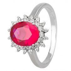 Morado Silver Oval Red Cubic Zirconia Cluster Ring R7084 RED