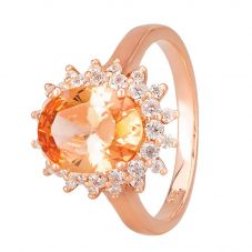 Morado Rose Gold Oval Champagne Cubic Zirconia Cluster Ring R7084 CHAMPAGNE RGP
