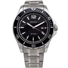 Sekonda Classic Black Dial Stainless Steel Bracelet Watch 1408