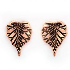 Chrysalis BODHI Rose Gold Plated Bodhi Leaf Stud Earrings CRET0405AR