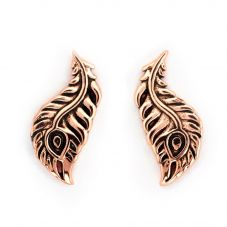 Chrysalis BODHI Rose Gold Plated Peacock Feather Stud Earrings CRET0411AR