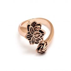 Chrysalis BODHI Rose Gold Plated Adjustable Lotus Flower Ring CRRT0508AR