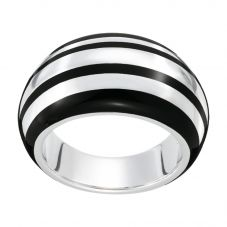 Montblanc Silver Black Resin Striped Band 36273