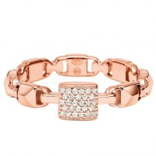 Michael Kors Mercer Link 14ct Rose Gold Plated Pavé Padlock Square Ring MKC1027AN791