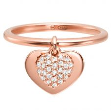 Michael Kors Kors Love 14ct Rose Gold Plated Pavé Heart Drop Ring  MKC1121AN791