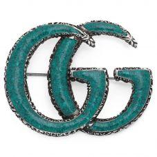 Gucci GG Marmont Silver Enamel Brooch YBF52518500100U