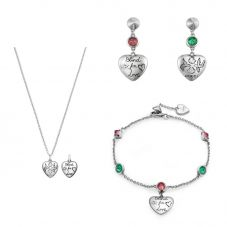 Gucci Blind 4 Love Silver Heart Bracelet, Earrings and Necklace Jewellery Set