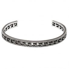 Gucci G Cube Silver Motif Slim Open Bangle YBA576990001