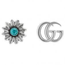 Gucci Silver GG Marmont Flower Earrings YBD52734400100U
