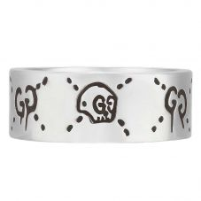 Gucci Ghost Mens Silver 9mm Band Ring YBC455318001