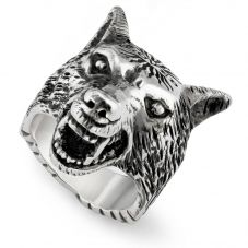 Gucci Anger Forest Silver Wolf Head Ring YBC476900001