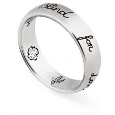 Gucci Blind 4 Love Silver 5mm Band Ring YBC455247001