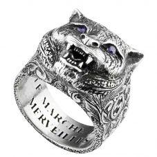 Gucci Garden Silver Feline Head Ring YBC524585001