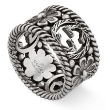 Gucci Interlocking G Wide Silver Flower Ring YBC577272001