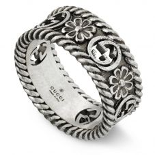 Gucci Interlocking G Silver Flower Ring YBC577263001