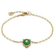 Gucci Le Marché 18ct Gold Jade Stone Bracelet YBA502852001017