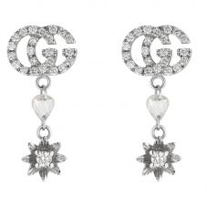 Gucci Flora 18ct White Gold Diamond Flower Dropper Earrings YBD58183000100U