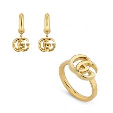 Gucci GG Running 18ct Yellow Gold Thin Ring and Earrings Jewellery Set
