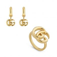 Gucci GG Running 18ct Yellow Gold Earrings and Ring Jewellery Set
