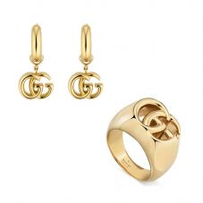 Gucci GG Running 18ct Yellow Gold Thick Ring and Earrings Jewellery Set