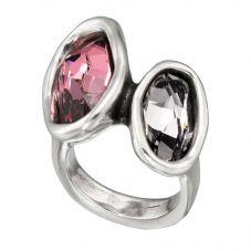 UNOde50 'YesYes' Pink & Black Crystal Ring ANI0403RSAHUM0L (N)