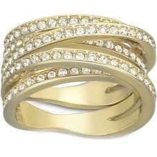 Swarovski Spiral Gold Tone Multi Crossover Ring 503292