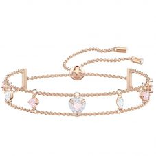 Swarovski One Rose Gold Tone White Crystal Charm Bracelet 5446304