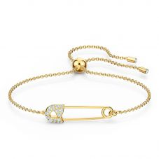 Swarovski So Cool Gold Tone Plated White Crystal Pin Toggle Bracelet 5512739 M
