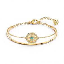 Swarovski Symbolic Gold Tone Plated Blue Crystal Mandala Bangle 5521493 M