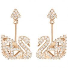 Swarovski Facet Rose Gold Tone Swan Earrings 5358058