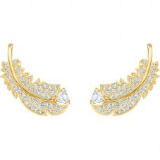Swarovski Nice White Crystal Feather Stud Earrings 5505623