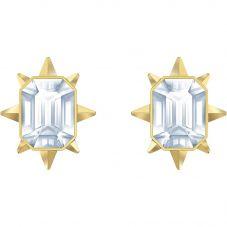 Swarovski Tarot Magic White Cushion Cut Crystal Gold Tone Stud Earrings 5494019