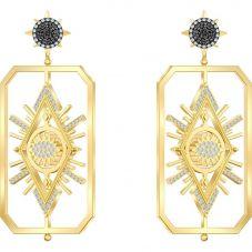 Swarovski Tarot Magic Multi-Coloured Crystal Card Shaped Gold Tone Dropper Earrings 5490920
