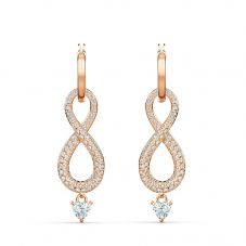 Swarovski Infinity Rose Gold Tone White Crystal Dropper Earrings 5512625
