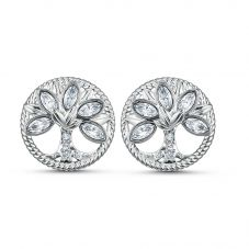 Swarovski Symbolic White Crystal Tree Of Life Stud Earrings 5540301