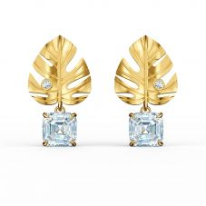 Swarovski Tropical Gold Plated White Crystal Leaf Stud Earrings 5519253