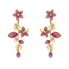 Swarovski Tropical Gold Tone Plated Pink Crystal Flower Dropper Earrings 5520648