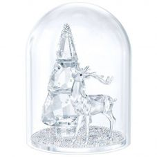 Swarovski Bell Jar Pine Tree And Stag Figurine 5403173