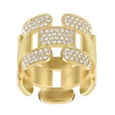 Swarovski Cube Gold Tone Crystal Ring 513967R