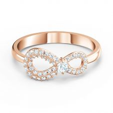 Swarovski Infinity Rose Gold Tone White Crystal Ring 5518873 55