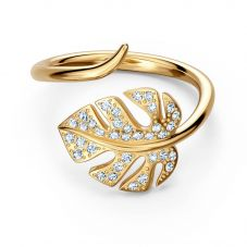 Swarovski Tropical Gold Tone Plated White Crystal Leaf Ring 5519257 55