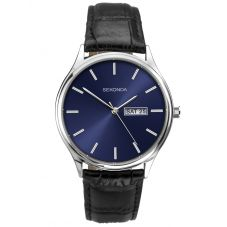 Sekonda Black Leather Blue Dial Strap Watch 1612