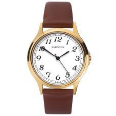 Sekonda Brown Leather White Dial Strap Watch 1684
