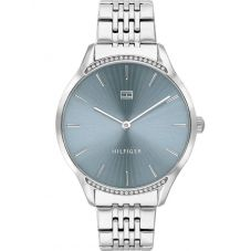 Tommy Hilfiger Gray Blue Dial Crystal Set Bezel Stainless Steel Bracelet Watch 1782210